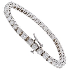 5.01 Carat Total Round Diamond 4 Prong Tennis Bracelet in 14 Karat White Gold
