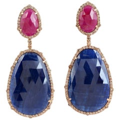50.19 Carat Blue Sapphire Ruby 18 Karat Gold Diamond Earrings