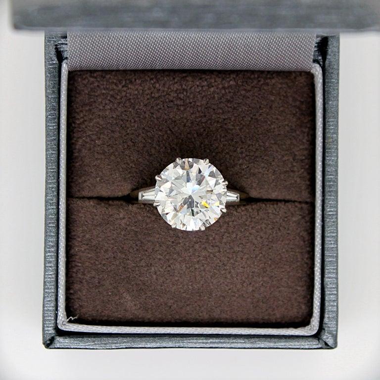 Round Cut 5.02 Carat D-VVS1, GIA, Diamond Solitaire Ring For Sale