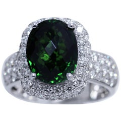 5.02 Carat French-Cut Tsavorite and Diamond Ring in 18K White Gold