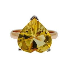 5.02 Carat Heart Shape Citrine Ring in Rose Gold and White Gold