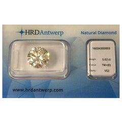 5.02 Carat HRD Certificate White Diamond