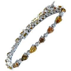 5.02 Carat Natural Fancy Multi-Color Diamond Tennis Bracelet 14 Karat