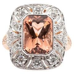 5.02 Carat Salmon Pink Radiant Morganite and Diamond 18 Carat Rose Gold Ring