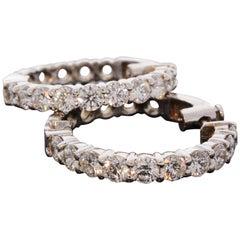 5.02 Carat Total Inside Outside Diamond Hoop Earrings in 14 Karat White Gold