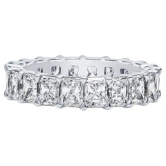 5.02 Carat Total Weight Radiant Cut Diamond Platinum Eternity Band