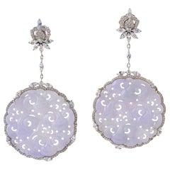 50.2 Carat Carved Jade Sapphire 18 Karat Gold Diamond Earrings
