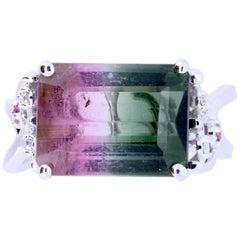 5.03 Carat Bicolored Tourmaline, 0.04 Carat Pink Sapphire and Diamond Ring