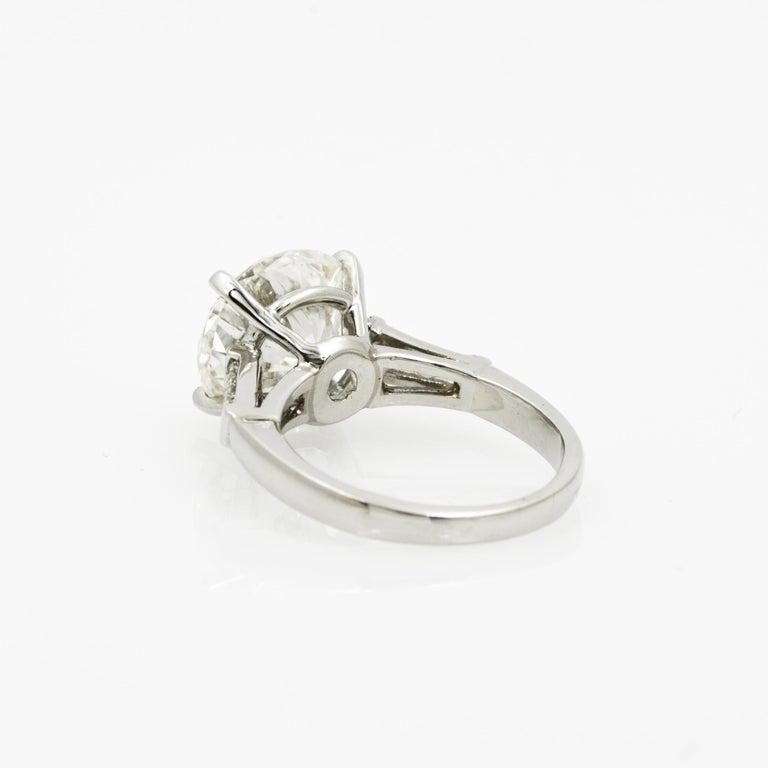 Women's 5.03 Carat GIA Round Cut Diamond Platinum Three-Stone Ring