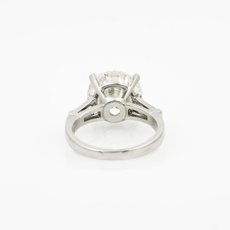 5.03 Carat GIA Round Cut Diamond Platinum Three-Stone Ring 1