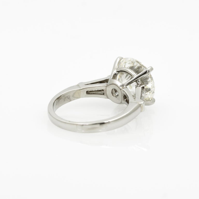 5.03 Carat GIA Round Cut Diamond Platinum Three-Stone Ring 2
