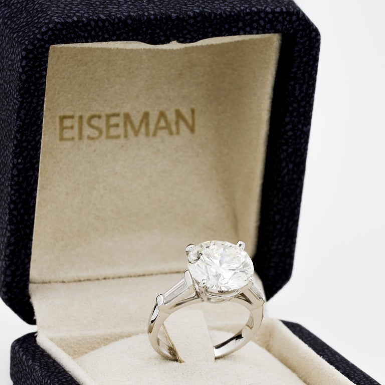 5.03 Carat GIA Round Cut Diamond Platinum Three-Stone Ring 3