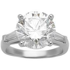 5.03 Carat GIA Round Cut Diamond Platinum Three-Stone Ring