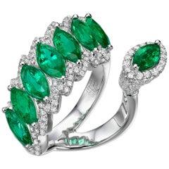 5.03 Carat Marquise Emerald Round Diamond 18 Karat White Gold Cocktail Ring