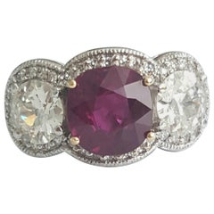 5.03 Carat Natural Cushion Ruby And White Round Old Cut Diamond Ring In 18K.