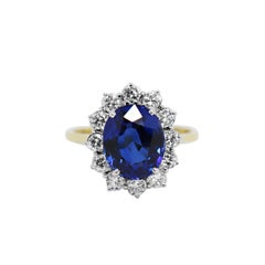5.03 Carat Sapphire and Diamond 18 Carat Gold Cluster Engagement Ring