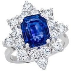5.03 Carat Sri Lanka Sapphire GIA Certified, Unheated Ceylon Ring, Octagonal Cut