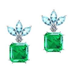 5.04 Carat Colombian Emeralds, Diamonds and Aquamarines Platinum Earrings