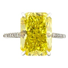 5.04 Carat GIA Rectangular Radiant Fancy Vivid Yellow Engagement Ring