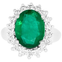 5.04 Carat Oval Natural Emerald and Diamond Halo Cocktail Ring 14K White Gold