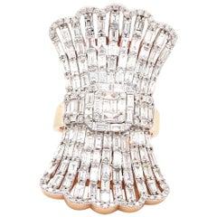 5.05 Carat Diamond 18 Karat Rose Gold Fan Ring