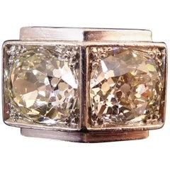 5.05 Carat Diamond Ring, Old European Cut Diamonds, French Design, Platinum