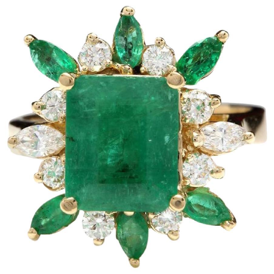 5.05 Carat Natural Emerald and Diamond 14 Karat Solid Yellow Gold Ring