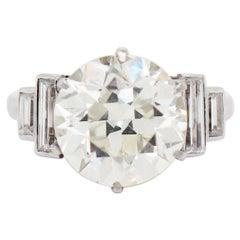 5.05 Carat Old European Cut Diamond Platinum Engagement Ring, circa 1920s