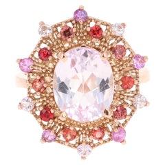 5.05 Carat Oval Cut Kunzite Multi-Sapphire 14 Karat Rose Gold Cocktail Ring