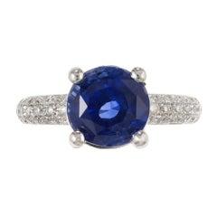 5.05 Carat Round Blue Sapphire Diamond Platinum Engagement Ring