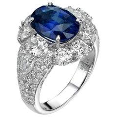 5.05 Carat Royal Blue Oval Ceylon Sapphire 18 Karat White Gold Diamond Ring