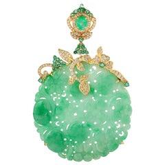 50.51 Carat Carved Jade Emerald Diamond 18 Karat Gold Pendant Necklace