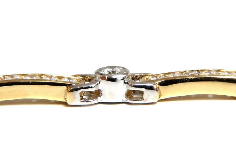 Channel & Flush Bezel Smooth Link Bracelet 5.05ct. natural diamonds.  Rounds, Full cut brilliants  H colors Si-1 clarity.  14kt. yellow & white gold  17.8 Grams.  7.25 Inches long (wearable length)  5.8mm wide  pressure clasp and safety catch