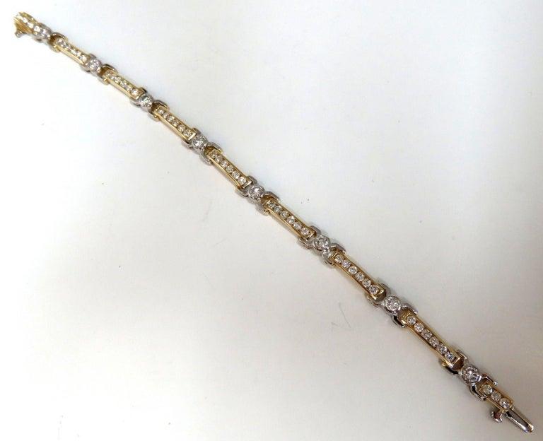 Round Cut 5.05 Carat Natural Round Diamonds Channel Link Bezel Flush Bracelet 14 Karat For Sale
