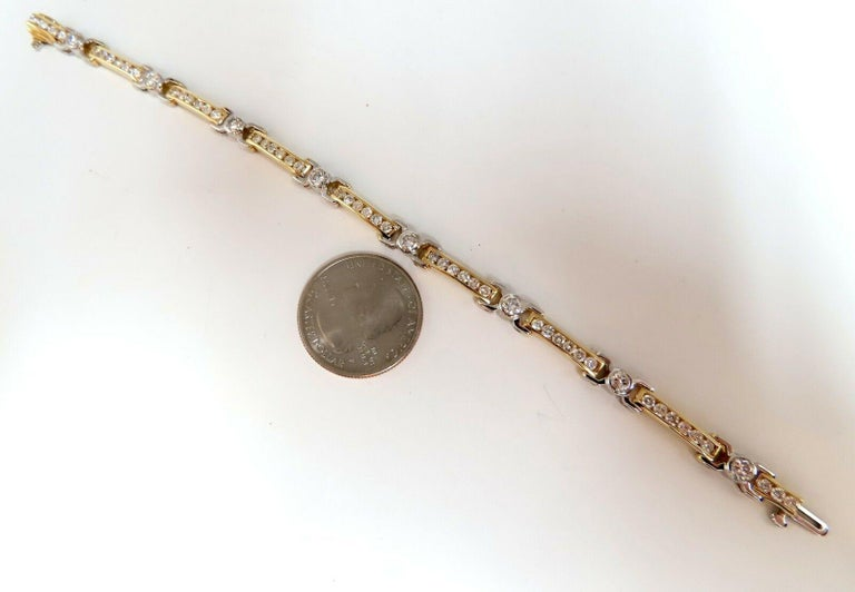 5.05 Carat Natural Round Diamonds Channel Link Bezel Flush Bracelet 14 Karat In New Condition For Sale In New York, NY