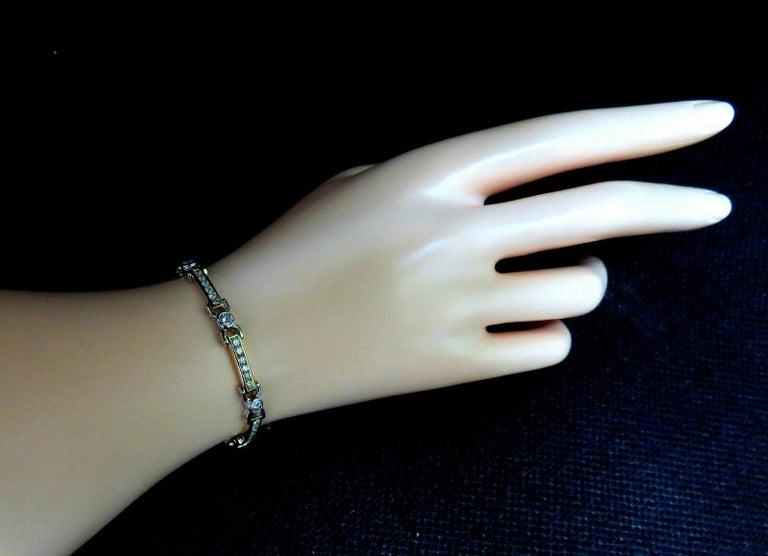 Women's or Men's 5.05 Carat Natural Round Diamonds Channel Link Bezel Flush Bracelet 14 Karat For Sale