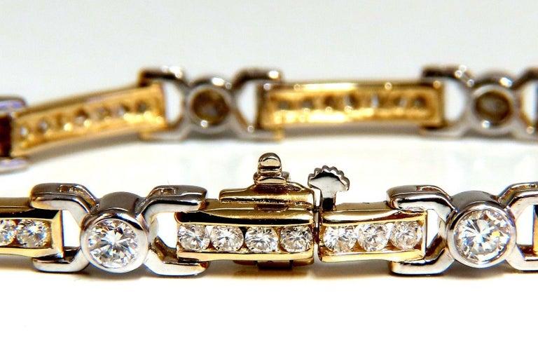 5.05 Carat Natural Round Diamonds Channel Link Bezel Flush Bracelet 14 Karat For Sale 1