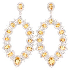 5.06 Carat Citrine White Topaz Silver Earrings