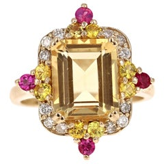 5.06 Carat Emerald Cut Citrine, Sapphire and Diamond 14 Karat Gold Ring