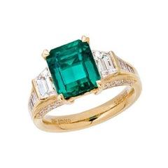 5.06 Carat Emerald Cut Colombian Emerald and Diamond Ring in 18 Karat Gold