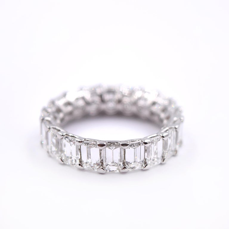 Contemporary 5.06 Carat Emerald Cut Diamond Band in Platinum For Sale