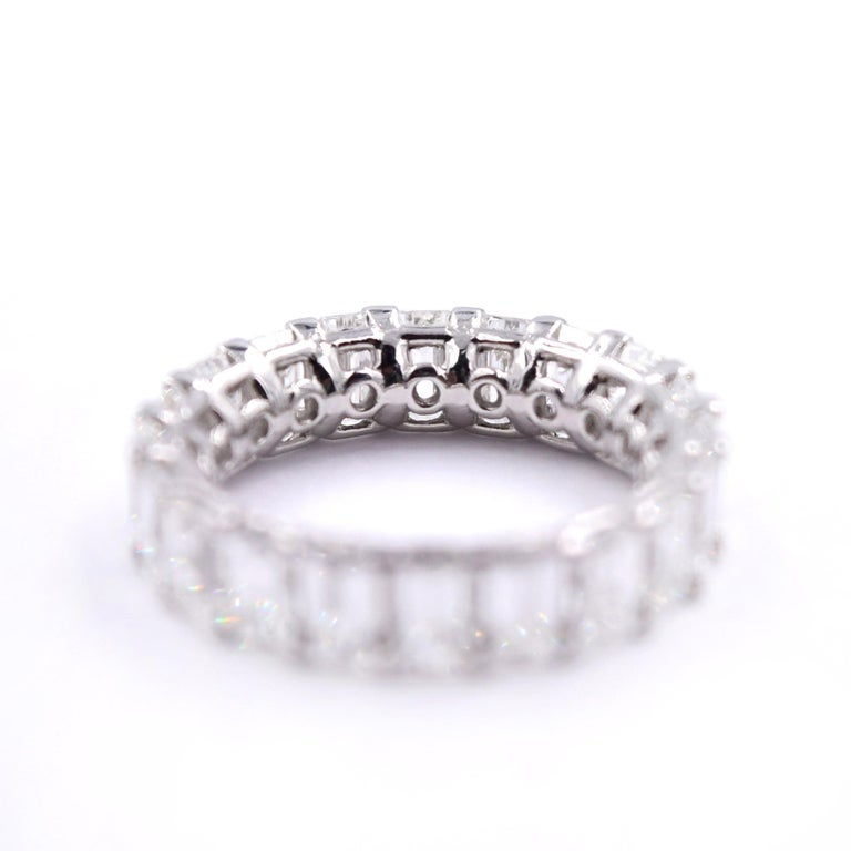 5.06 Carat Emerald Cut Diamond Band in Platinum In New Condition For Sale In Mill Valley, CA