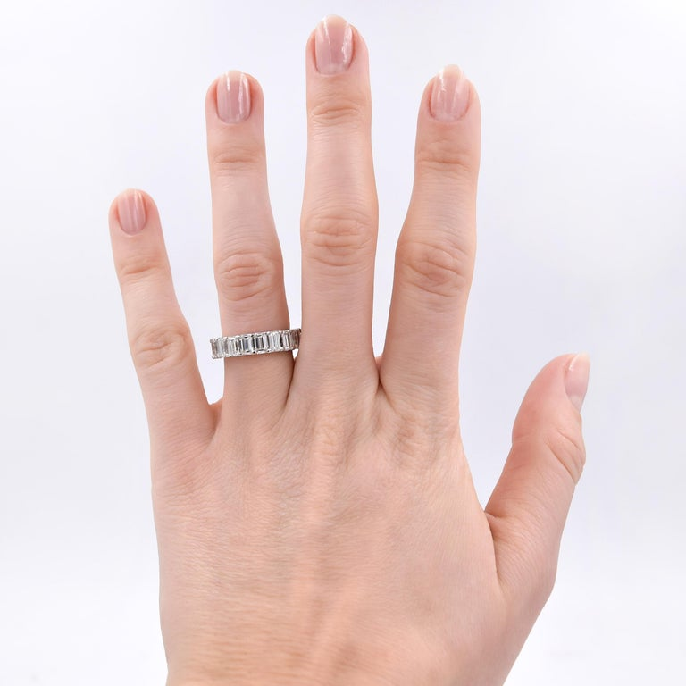 5.06 Carat Emerald Cut Diamond Band in Platinum For Sale 2