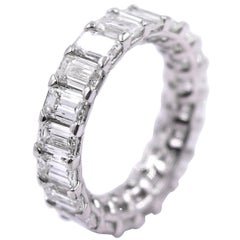 5.06 Carat Emerald Cut Diamond Band in Platinum