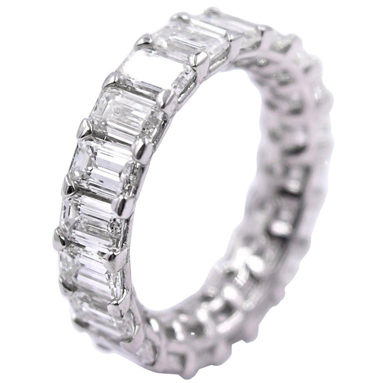 5.06 Carat Emerald Cut Diamond Band in Platinum For Sale