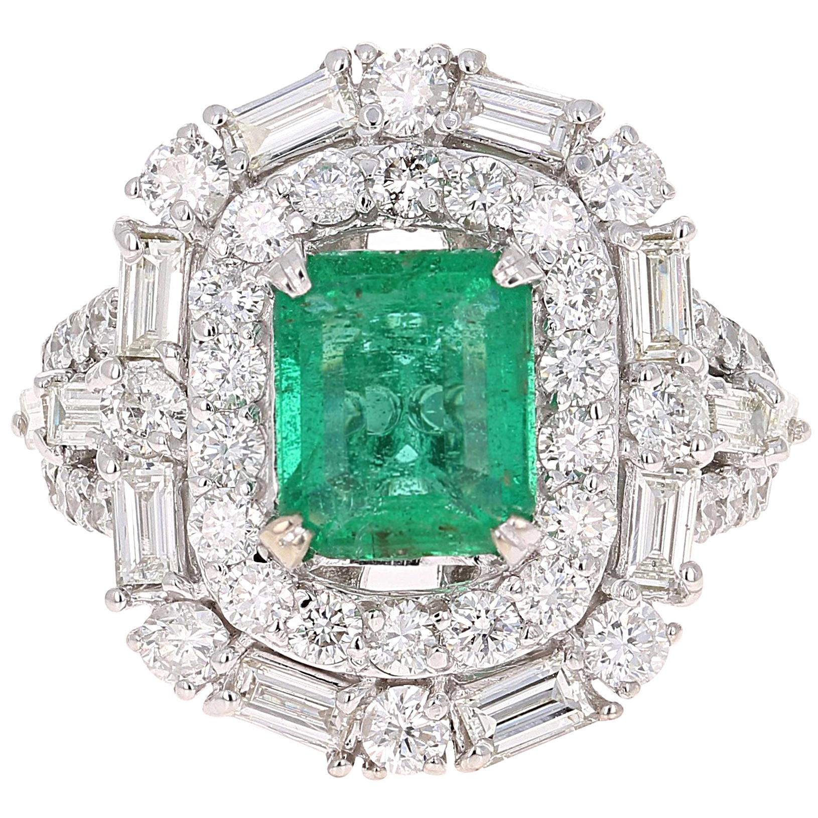 GIA Certified Emerald Diamond 18K White Gold Art-Deco Inspired Cocktail Ring