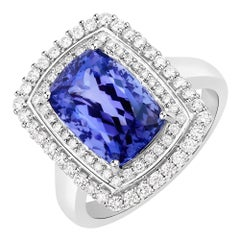 5.06 Carat Genuine Tanzanite and White Diamond 14 Karat White Gold Ring