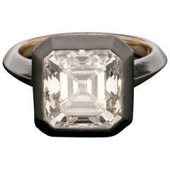 5.06 Carat J VVS2 Old Asscher Solitaire Diamond Black Rhodium Ring by Hancocks