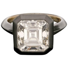 5.06 Carat J VVS2 Old Vintage Asscher Cut Solitaire Diamond Ring by Hancocks