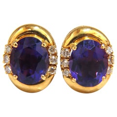 5.06 Carat Natural Amethyst Diamonds Clip Earrings 18 Karat
